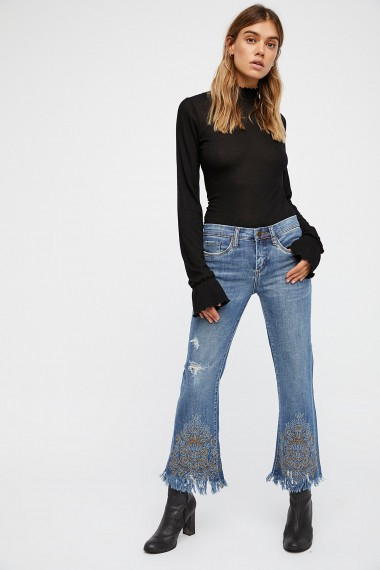 Blank NYC Miss Matched Embellished Crop Flare | studded flared jeans