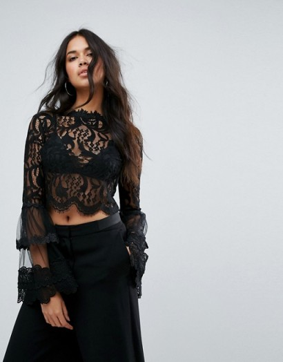 Missguided Lace Crochet Trim Flare Sleeve Blouse ~ sheer black tops