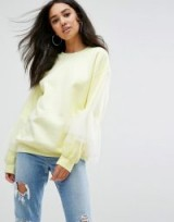 Missguided Oversized Tulle Ruffle Sleeve Sweat Top | yellow sweatshirts