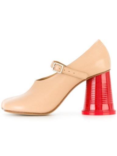 MM6 MAISON MARGIELA block heel pumps / nude leather rounded heel Mary Jane shoes - flipped