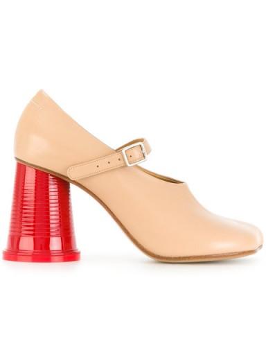 MM6 MAISON MARGIELA block heel pumps / nude leather rounded heel Mary Jane shoes