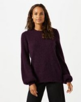 JIGSAW MOHAIR BALLOON SLEEVE JUMPER ~ purple jumpers