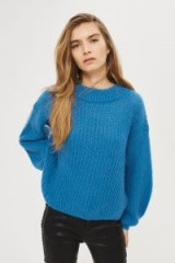 Topshop Mohair Blouson Sleeve Jumper | blue chunky knit jumpers