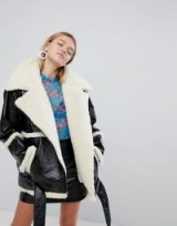 Monki Faux Leather And Shearling Aviator Jacket ~ fur lined jackets