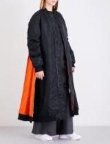 MOOHONG Longline shell bomber coat | long black and orange contemporary coats