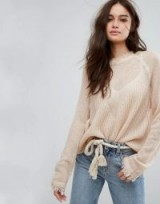 Moon River Sheer Raglan Jumper | pale pink luxe jumpers | frayed edge sweaters