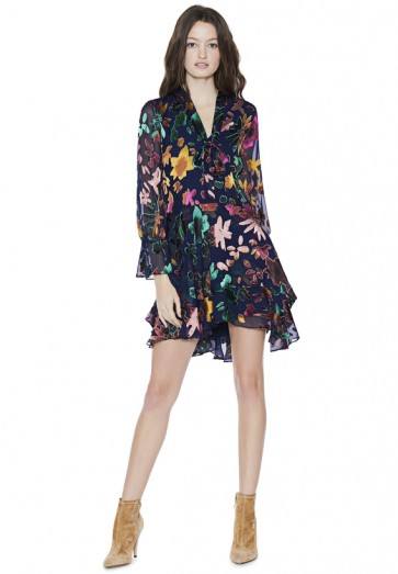 Alice and Olivia MOORE V-NECK TUNIC DRESS / ruffled floral print dresses