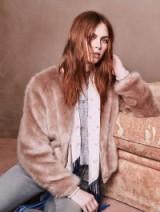 MOTHER DENIM Letterman Fur Jacket Stroke Of Fortune / fluffy pink faux fur jackets