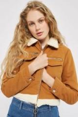 Topshop MOTO Cropped Denim Borg Jacket   tan-brown jackets