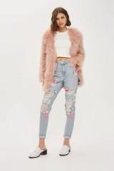 Topshop MOTO High Rise MOM Jeans   ripped floral applique denim