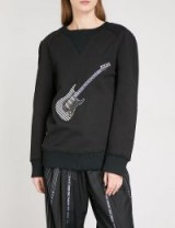 MUNN Guitar-appliqué cotton-jersey sweatshirt | black appliqued sweatshirts | striped back tops