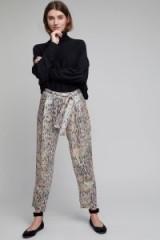 Intropia Mykki Printed Wide Leg Trousers   silky waist tie pants