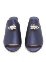 JIMMY CHOO Myla crystal-embellished satin mules – blue jewel front mules