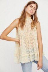 Free People Myrna Tunic | sheer cream lace high neck tunics | romantic sleeveless tops