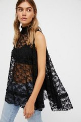Free People Myrna Tunic | black sheer lace tops | sleeveless high neck tunics