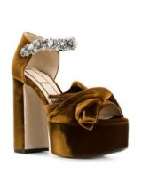 Nº21 abstract bow embellished platform sandals / brown luxe platforms / chunky party heels