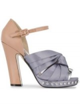 Nº21 knotted bow sandals / pink and purple embellished platforms