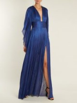 MARIA LUCIA HOHAN Nadina kimono-sleeve pleated tulle gown ~ metallic blue plunge front gowns