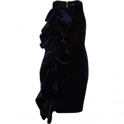 River Island Navy velvet frill front bodycon dress | blue sleeveless ruffled party dresses