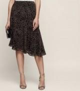 NEELAM ANIMAL PRINT BURNOUT SKIRT BLACK/GREY / asymmetric evening skirts / occasion wear