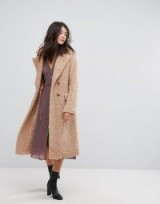 Neon Rose Oversized Cocoon Coat In Faux Shearling ~ neutral/sand winter coats