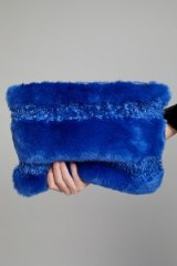 Anthropologie Nicole Striped Faux Fur Clutch / large blue fluffy pouch bags