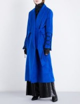 NOHKE Single-breasted lace-up wool-blend coat | blue statement coats