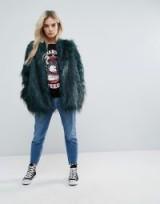 Noisy May Petite Faux Fur Coat – fluffy green coats