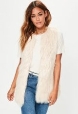 missguided nude faux fur gilet ~ shaggy gilets
