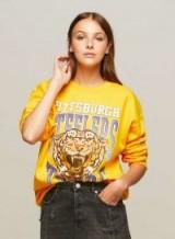 Miss Selfridge Ochre Pittsburgh Sweatshirt / yellow slogan sweatshirts