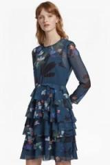 FRENCH CONNECTION OLIVIE SHEER RUFFLE FLORAL SKATER DRESS ~ teal sheer sleeved dresses