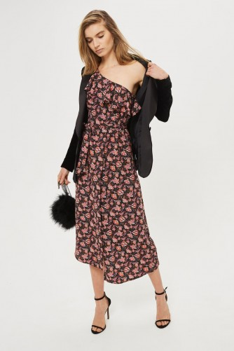 TOPSHOP One Shoulder Paisley Print Midi Skater Dress / floral frill trim dresses