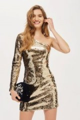 Topshop One Shoulder Sequin Mini Bodycon Dress | gold going out dresses | disco queen