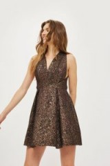 TOPSHOP Opulent Jacquard Prom Skater Dress – sleeveless fit and flare party dresses