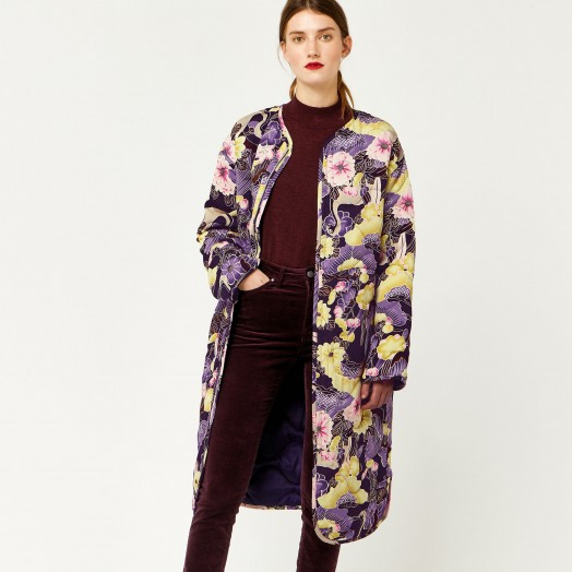 WAREHOUSE ORCHID PRINT REVERSIBLE COAT / floral quilted collarless coats