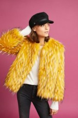 Anthropologie Orlean Faux-Fur Coat / fluffy yellow winter coats