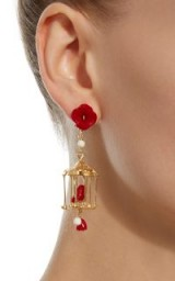 Of Rare Origin Pagoda 18K Yellow Gold Vermeil, Coral And White Agate Earrings ~ statement jewellery