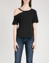 PAIGE DENIM Eliana jersey T-shirt | black cut out tee | cold shoulder T-shirts