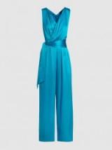 PAPER LONDON Takana Silk-Blend Sleeveless Wrap Jumpsuit ~ blue silky tie waist jumpsuits