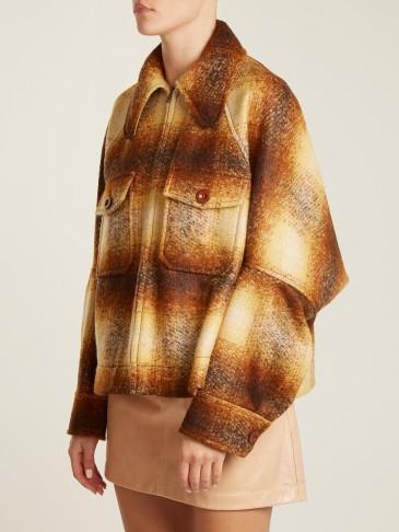 CHLOÉ Patch-pocket checked mohair-blend jacket / brown check print jackets / designer fashion