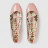 GUCCI Pink patent leather ballet flat with bee | embellished flats