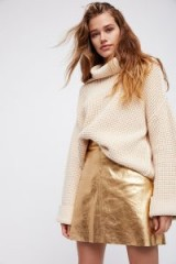 Otto Dame Pelle Skirt in Oro / gold luxe leather skirts
