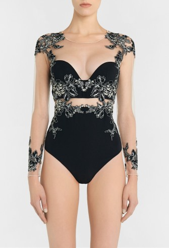 LA PERLA PEONY Black bodysuit in embroidered stretch tulle and silk georgette – semi sheer luxury bodysuits – luxurious lingerie/tops