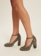 CHLOÉ Perry block-heel patent-leather pumps ~ grey high heeled t-bar shoes