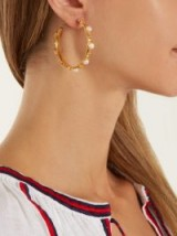 SYLVIA TOLEDANO Petite Candies gold-plated earrings ~ pearl embellished statement hoops