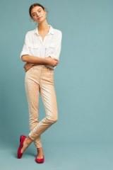 Pilcro Velvet High-Rise Skinny Ankle Jeans   peach pants