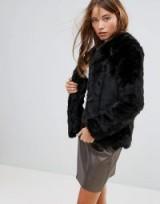Pimkie Collarless Faux Fur Coat – soft black jackets