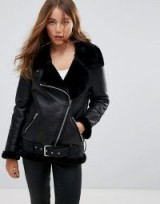 Pimkie Leather Look Aviator Jacket – black faux fur lined zip up jackets