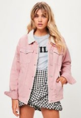 MISSGUIDED pink borg lined denim jacket   distressed jackets