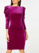 Dorothy Perkins Pink Velvet Ruched Sleeve Bodycon Dress – mutton sleeved party dresses